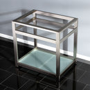 "Load image into Gallery viewer, Fauceture 31"" x 22"" Steel Console Sink Base with Glass Shelf"