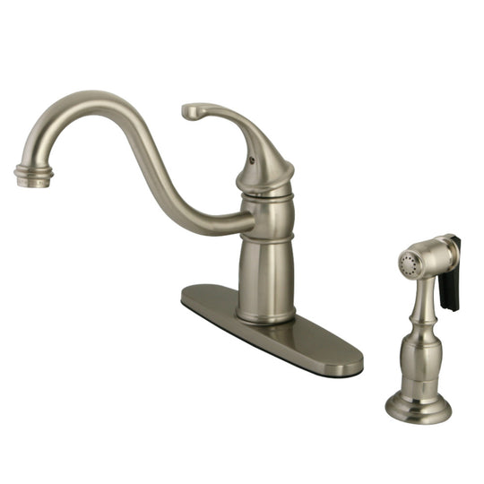 "Georgian 8 "" Centerset Kitchen Faucet With Brass Sprayer"