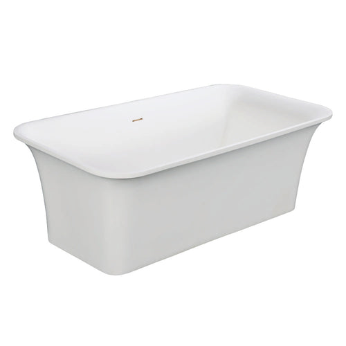 Arcticstone Solid Surface White Stone Freestanding Tub with Drain, Matte White