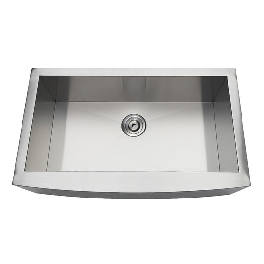 "Gourmetier Drop-In 33"" x 20"" Stainless Steel Single Bowl Farmhouse Kitchen Sink, Brushed"