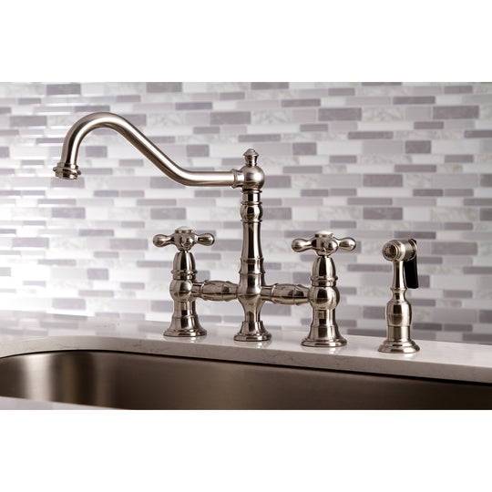 "Restoration 8 "" Bridge Kitchen Faucet With Sprayer Includes Cross Handles For Easy Rotation"