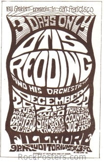 AOR2.044 - Otis Redding Handbill - Fillmore Auditorium - Condition - Near Mint - SF Rock Posters - EST 1991. San Francisco, CA