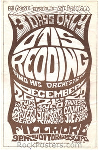 AOR-2.44 - Otis Redding Handbill - Fillmore Auditorium - Condition - Excellent - SF Rock Posters - EST 1991. San Francisco, CA