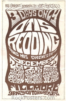 AOR2.044 - Otis Redding Handbill - Fillmore Auditorium - Condition - Excellent - SF Rock Posters - EST 1991. San Francisco, CA