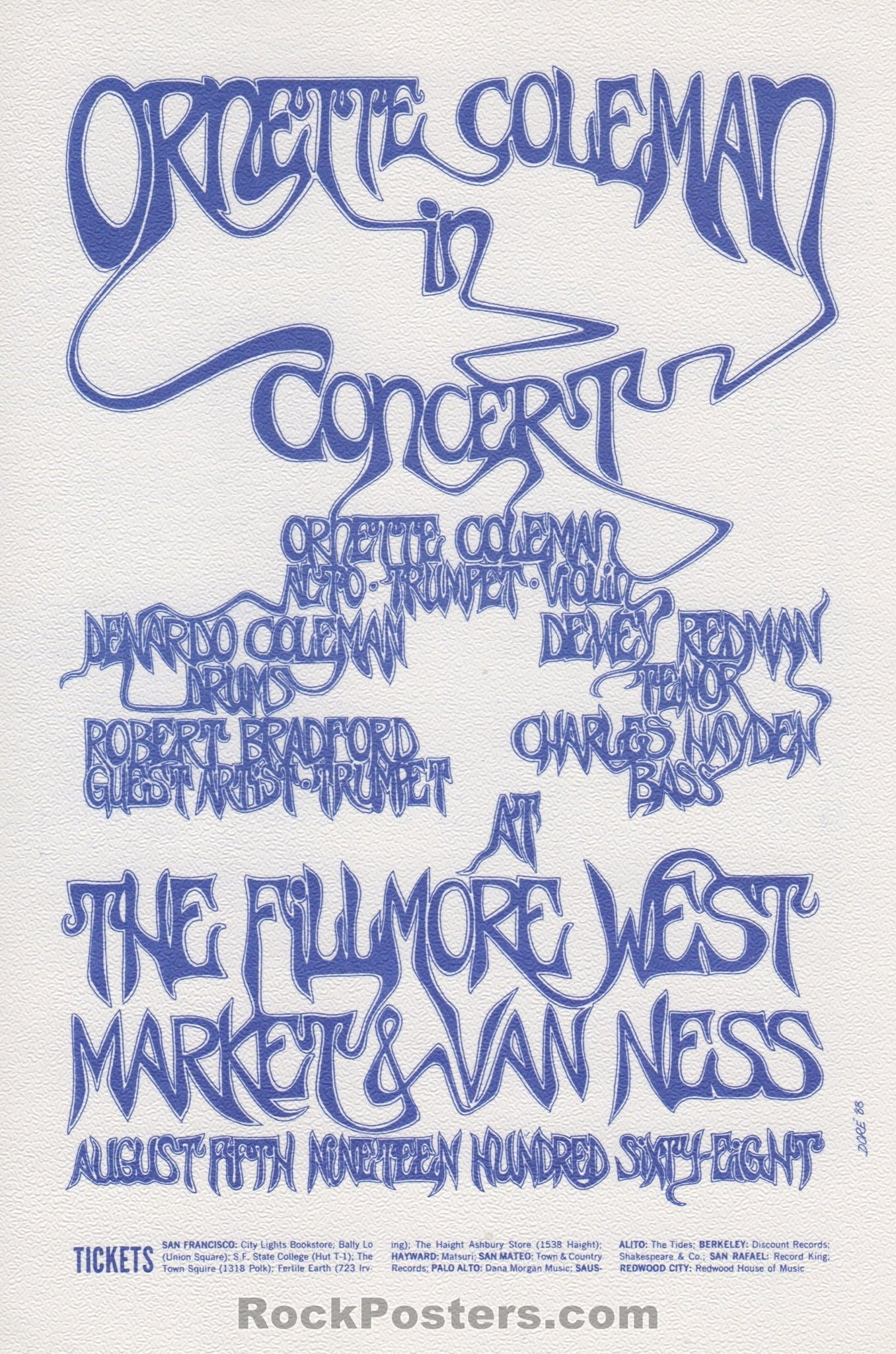 AOR2.080 - Ornette Coleman Handbill - Fillmore West - Condition - Mint - SF Rock Posters - EST 1991. San Francisco, CA