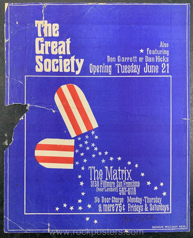 AOR-2.113 - The Great Society Poster - The Matrix - Condition - Rough - SF Rock Posters - EST 1991. San Francisco, CA