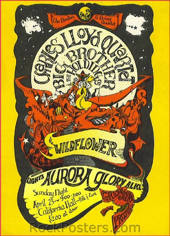 AOR2.151 - Big Brother & The Holding Company Poster - California Hall - Condition - Mint - SF Rock Posters - EST 1991. San Francisco, CA