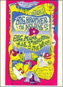 AOR2.152 - Big Brother & The Holding Company Handbill - California Hall - Condition - Mint - SF Rock Posters - EST 1991. San Francisco, CA