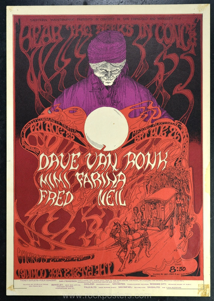 AOR2.262 - Dave Van Ronk Poster - Berkeley Community Theater - Condition - Excellent - SF Rock Posters - EST 1991. San Francisco, CA