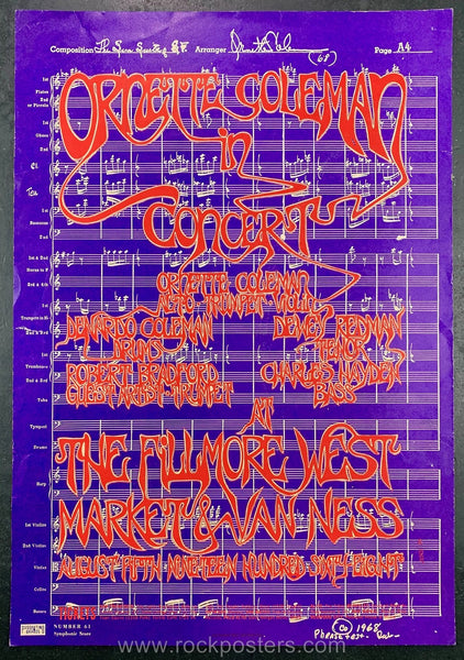 AOR2.080 - Ornette Coleman Poster - Fillmore West - Condition - Fair - SF Rock Posters - EST 1991. San Francisco, CA