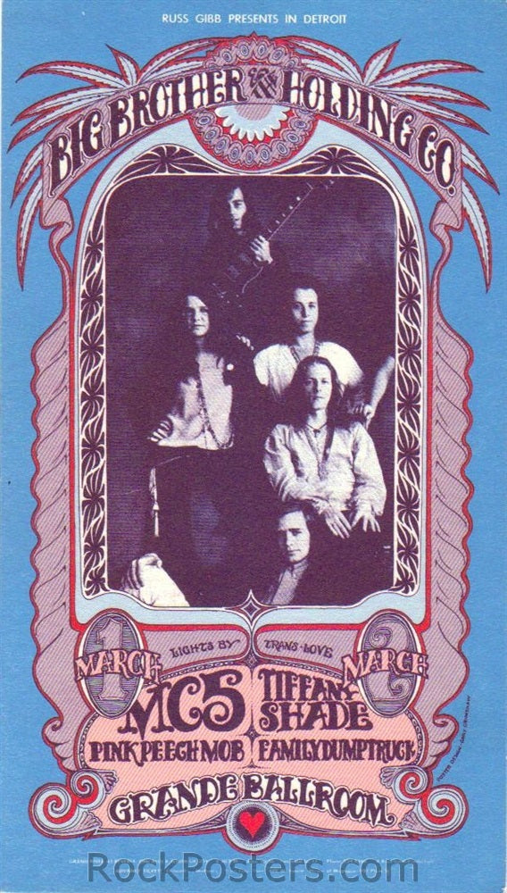 AOR3.141 - Big Brother & The Holding Company Handbill - Grande Ballroom - Condition - Mint