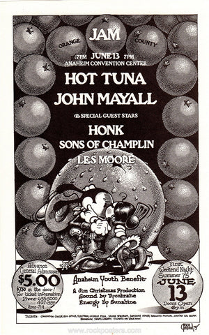 AOR4.123 - Hot Tuna Handbill - Anaheim Convention Center - Condition - Near Mint