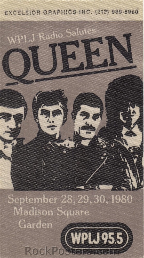 AOR4.316 - Queen Radio Promo Pass --Madison Square Garden - Condition - Mint