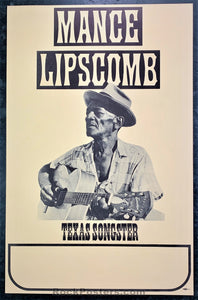 AOR-1.80 - Mance Lipscomb  Poster - Tour Blank - Condition - Near Mint Minus