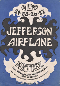 AOR-2.112 - Jefferson Airplane 1966 Handbill - The Matrix - Excellent