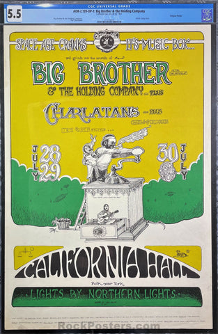 AUCTION - AOR-2.139 - Big Brother & Janis Joplin - 1967 Poster - California Hall - CGC Graded 5.5