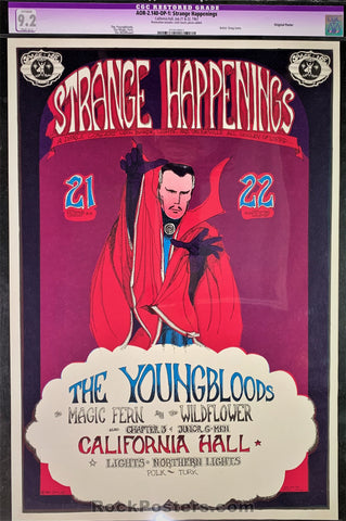 AUCTION - AOR2.140 - Strange Happenings Youngbloods Poster - California Hall - Condition - CGC Graded 9.2