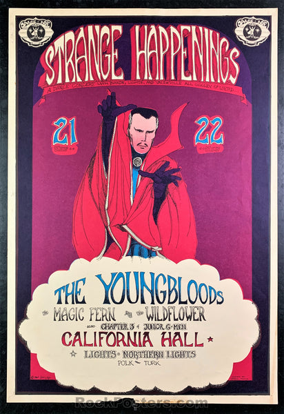 AUCTION - AOR2.140 - Strange Happenings Youngbloods Poster - California Hall - Condition - Good