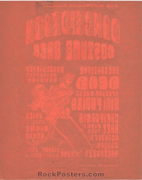 AOR-2.143 - The Grateful Dead Handbill - Dance of Death - California Hall - Near Mint Minus