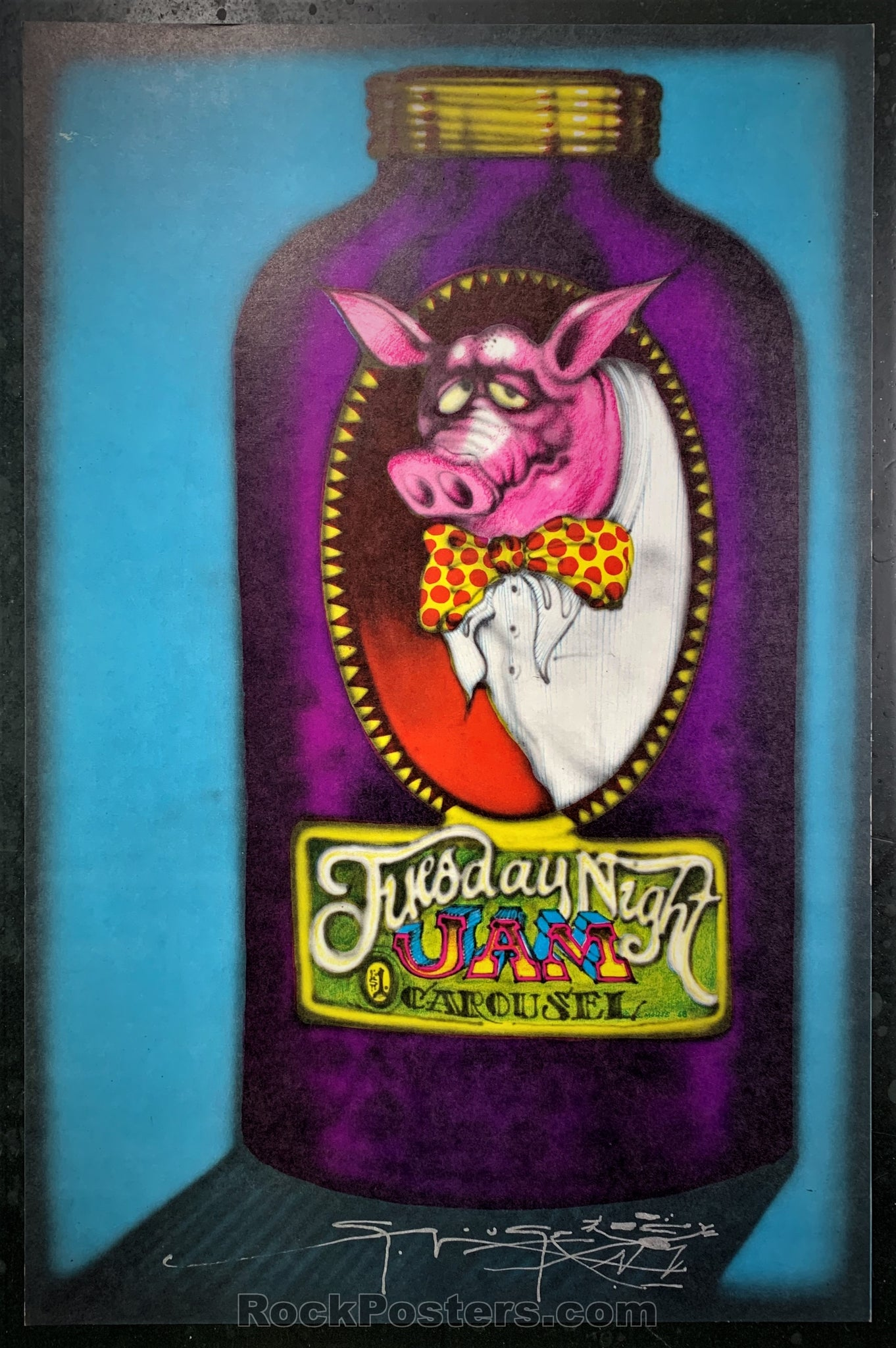 AUCTION - AOR-2.170 - Tuesday Night Jam 1968 Poster - Stanley Mouse Signed - Carousel Ballroom - Near Mint Minus