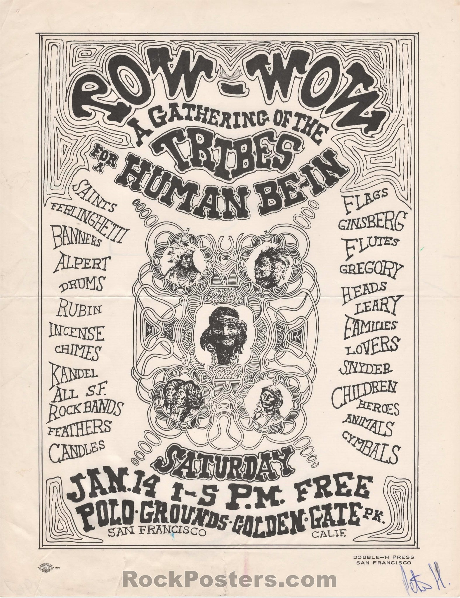 AOR-2.216 - Tim Leary Grateful Dead Handbill - The Human Be-In - Golden Gate Park - Excellent