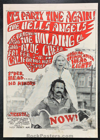 AUCTION - AOR2.248 - Hell's Angels Janis Joplin Blue Cheer 1967 Original Poster - California Hall - Condition - Excellent