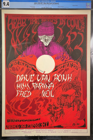 AUCTION - AOR-2.262 - Dave Van Ronk Mimi Farina - 1967 Poster - Berkeley Community Theater - CGC Graded 9.4