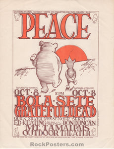 AOR 2.327 - Grateful Dead Handbill - Peace Pooh - Mt. Tam Amphitheater - Condition - Excellent
