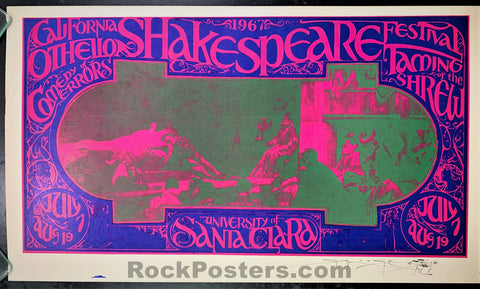 AUCTION - AOR-2.366 - California Shakespeare Festival 1967 Poster - Mouse Signed - University of Santa Clara - Excellent