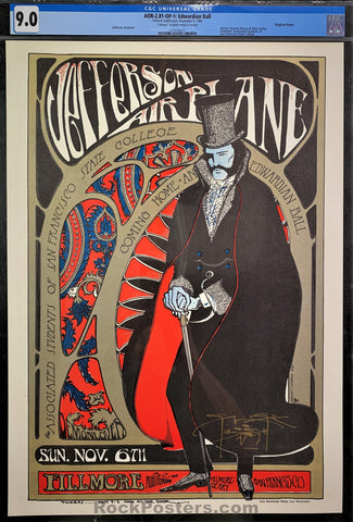 AUCTION - AOR2.81 - Edwardian Ball Jefferson Airplane Mouse Signed Poster - Fillmore Auditorium -  Condition - CGC Graded 9.0