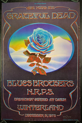 AOR4.038 -  Grateful Dead Blue Rose Poster - Winterland - Condition - Good