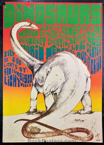 AOR 4.064 - The Dinosaurs Kelley Signed Poster - Marin Veterans Auditorium - Condition - Rough
