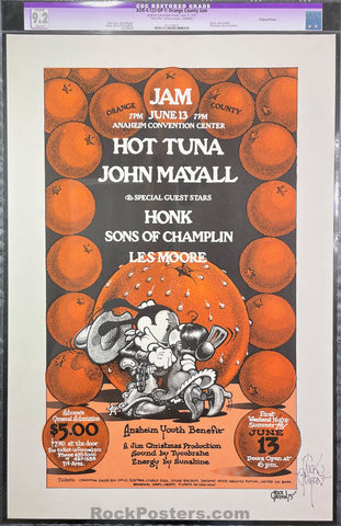 AUCTION - AOR-4.123 - Hot Tuna - 1975 Poster - Rick Griffin Signed - Orange County Jam - CGC Graded 9.2