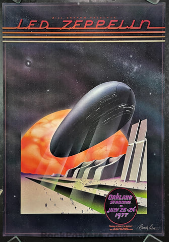 AOR-4.50 - Led Zeppelin -  Randy Tuten Signed - 1977 Poster - Oakland Coliseum - Excellent