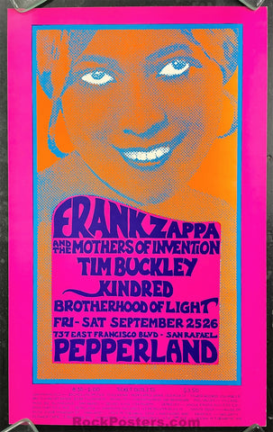 AUCTION - AOR-4.86 - Frank Zappa Tim Buckley - 1970 Poster - Pepperland - Near Mint