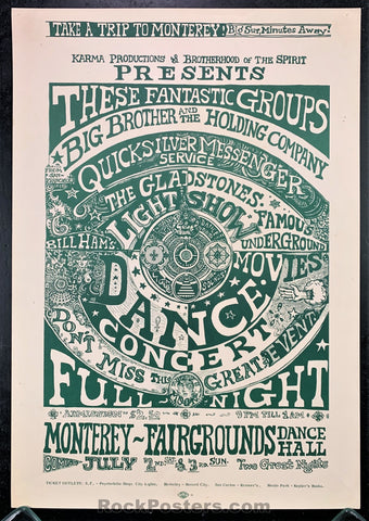 AUCTION - AOR3.33 - Big Brother Janis Joplin 1966 Original Poster   - Monterey Fairgrounds - Condition - Excellent