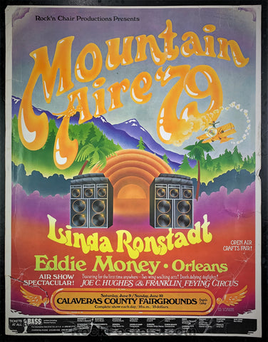 AOR-4.97 Alt. - Linda Ronstadt Eddie Money Poster - Mountain Aire '79 -  Condition - Rough