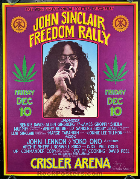 AUCTION - AOR 4.194 - John Lennon Sinclair Freedom Rally Grimshaw Signed 1971 Poster - Crisler Arena - Condition - Excellent