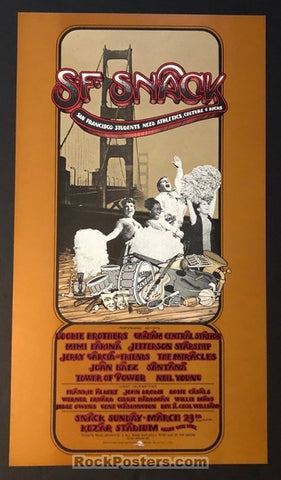 AUCTION - AOR-4.49 - Grateful Dead Neil Young 1975 SNACK Benefit Poster - Randy Tuten - Mint