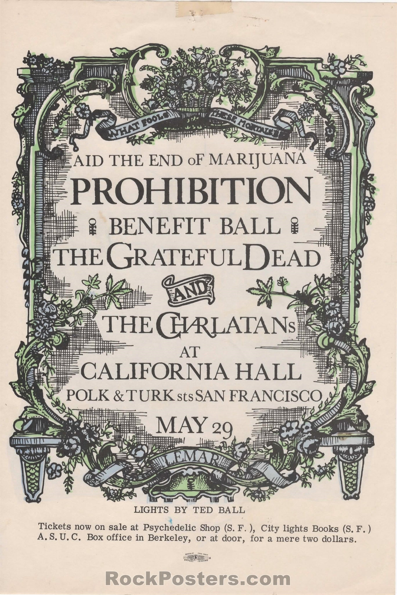 AOR-2.147 - The Grateful Dead Handbill - Lemar Benefit - California Hall - Excellent