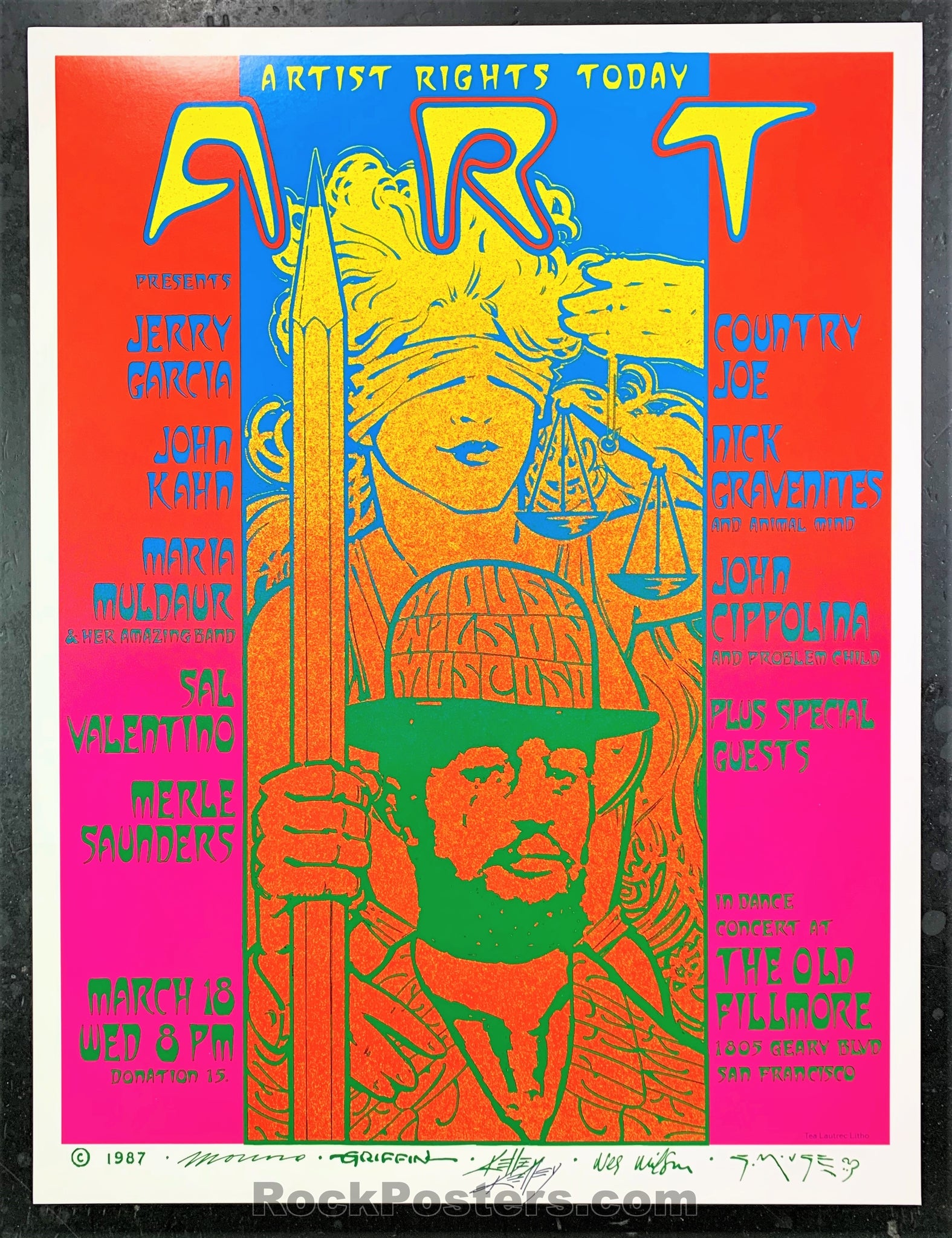 AUCTION - Alton Kelley Collection - Artist Right's Today Jerry Garcia 1987 Poster - Kelley Signed - Old Fillmore - Condition - Near Mint