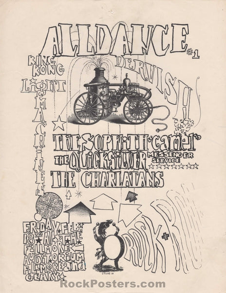 AUCTION - Early Fillmore - 1966 Pre Tribal Stomp - All Dance Handbill - Condition - Good