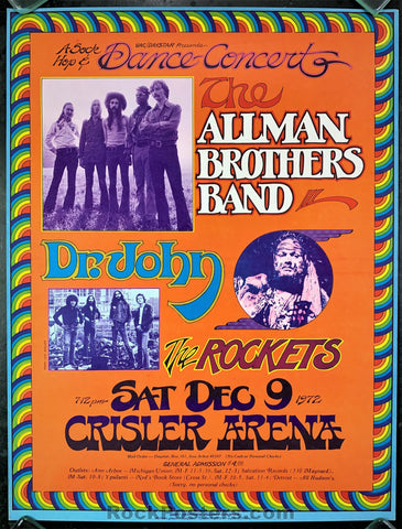 AUCTION - AOR 4.192 - Allman Brothers Dr. John 1972 - Gary Grimshaw Poster - Crisler Arena - Condition - Near Mint Minus