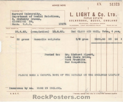 AUCTION - Drugs - Richard Alpert Harvard 1962 Mescaline Invoice - Condition - Excellent