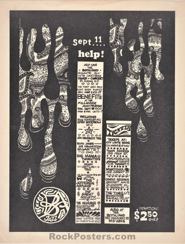 AUCTION - AOR 2.74 - Grateful  Dead Benefit Fillmore 1966 Handbill - Excellent