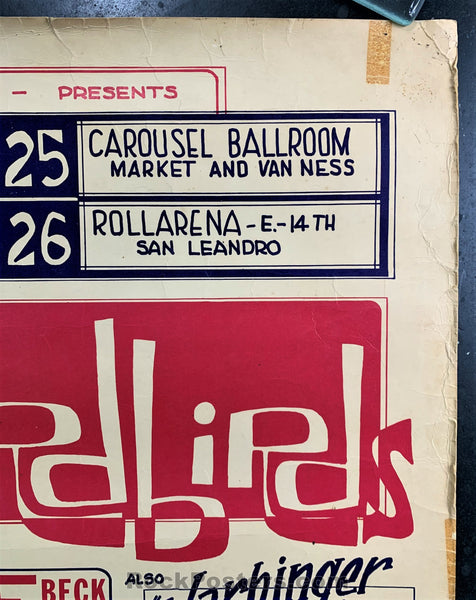 AUCTION - AOR 2.293 - Yardbirds 1966 Board Poster - Carousel Ballroom - Very Good