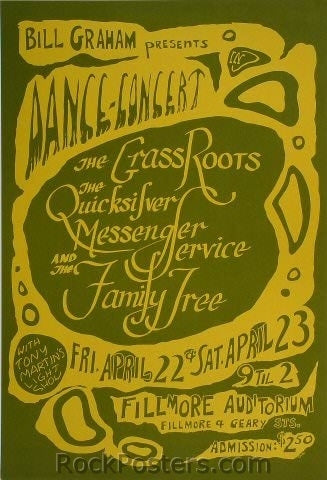 BG0 - Grass Roots Poster - Fillmore Auditorium (22-Apr-66) Condition - Very Good