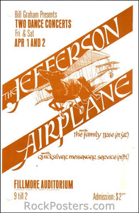 BG1A - Jefferson Airplane Handbill - holes punched - Fillmore Auditorium - Condition - Excellent