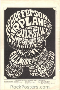 BG4 - Jefferson Airplane Handbill - Fillmore Auditorium (29-Apr-66) Condition - Excellent