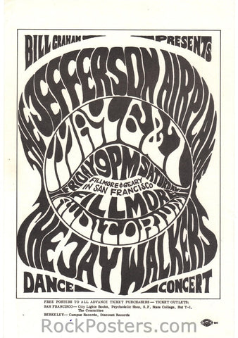 BG5 - Jefferson Airplane Handbill - Fillmore Auditorium (06-May-66) Condition - Near Mint